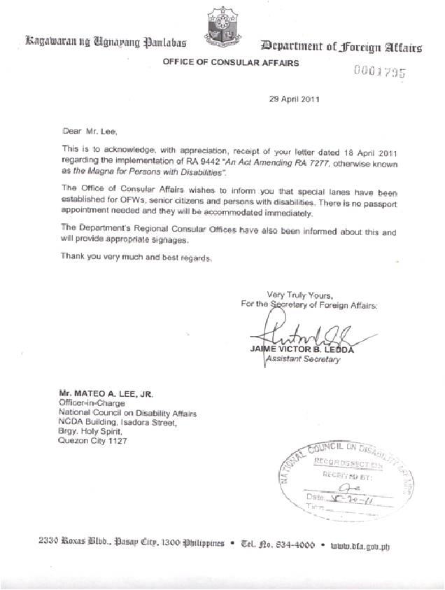 Dfa letter national council on disability affairs dfa letter spiritdancerdesigns Image collections