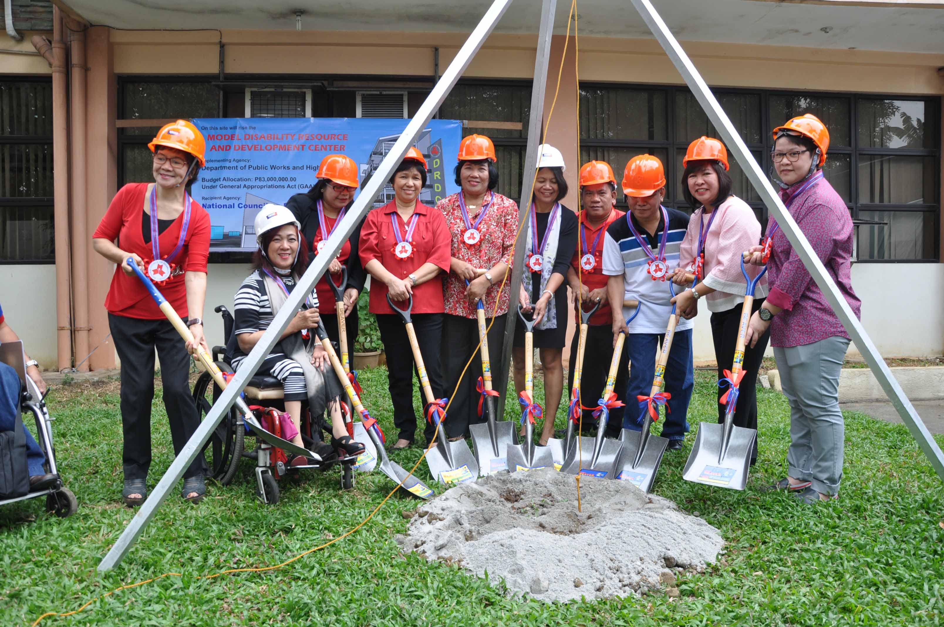 The AAF DRDC Core Group  composed of representatives from NCDA, DPWH, DOLE ECC, PIA, DSWD, DepEd, National Library and Taguig PDAO during the groundbreaking ceremony