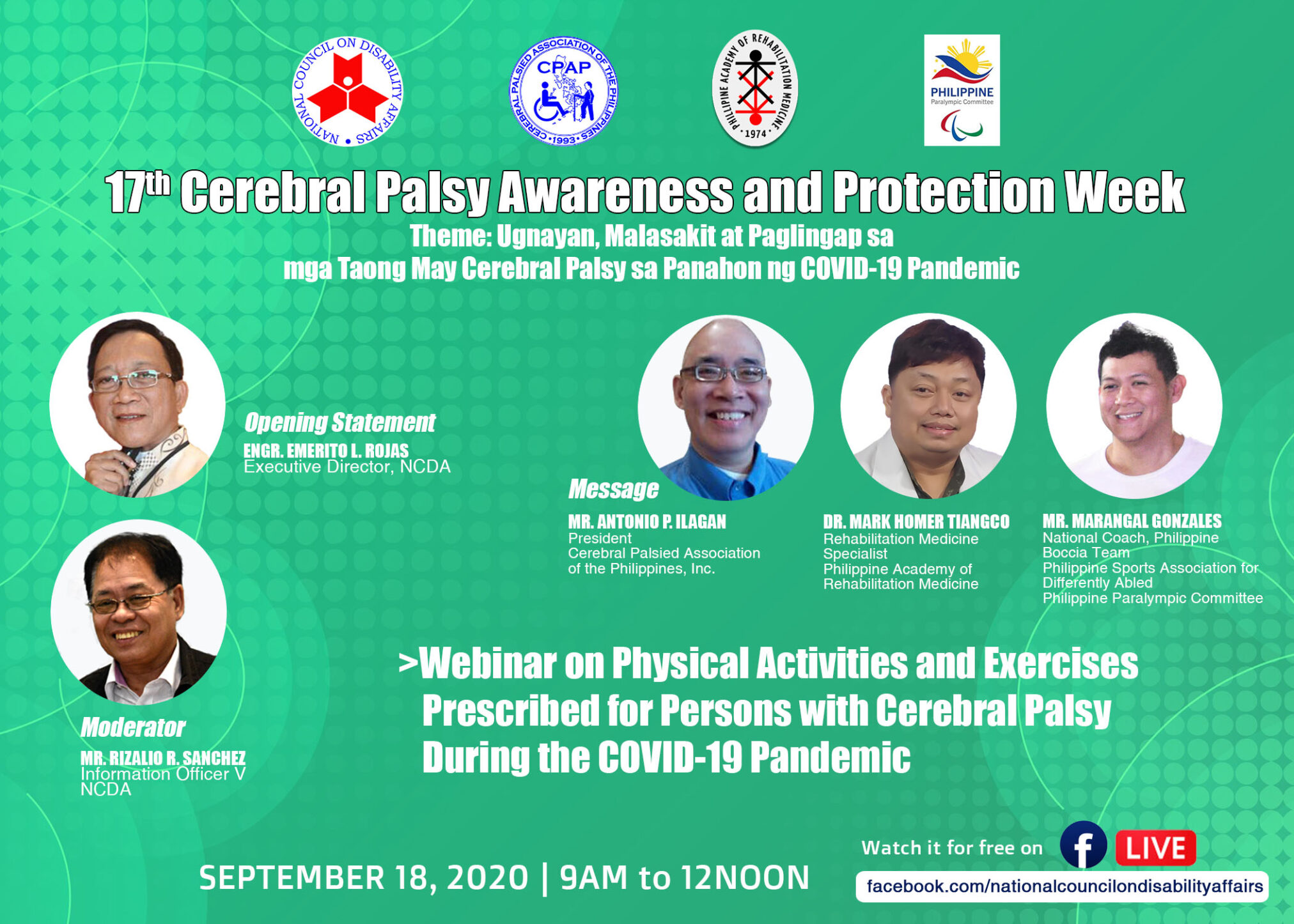 Webinar on Physical Activities and Exercises Prescribed for Persons with Cerebral Palsy During the Covid-19 Pandemic