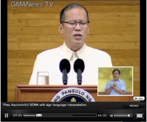 P-noy's SONA with sign language inset.