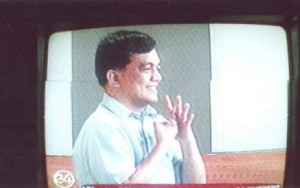 Mr. Jojo Esposa interpreting through sign language the State of the Nation's Address of President Noynoy Aquino