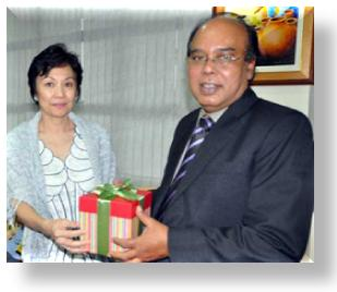 Assistant Secretary Nora C. Salazar thanks Mr. Noman Khan, 2010 Ramon Magsaysay Foundatio (RMF) Awardee for sharing with NCDA partners and staff his award-winning zeal for a disability-inclusive Bangladesh against all odds.  Also, for sharing his time last August 27, 2010 in NCDA even before he was conferred the RMAF Award on August 31, 2010 at the Cultural Center of the Philippines.