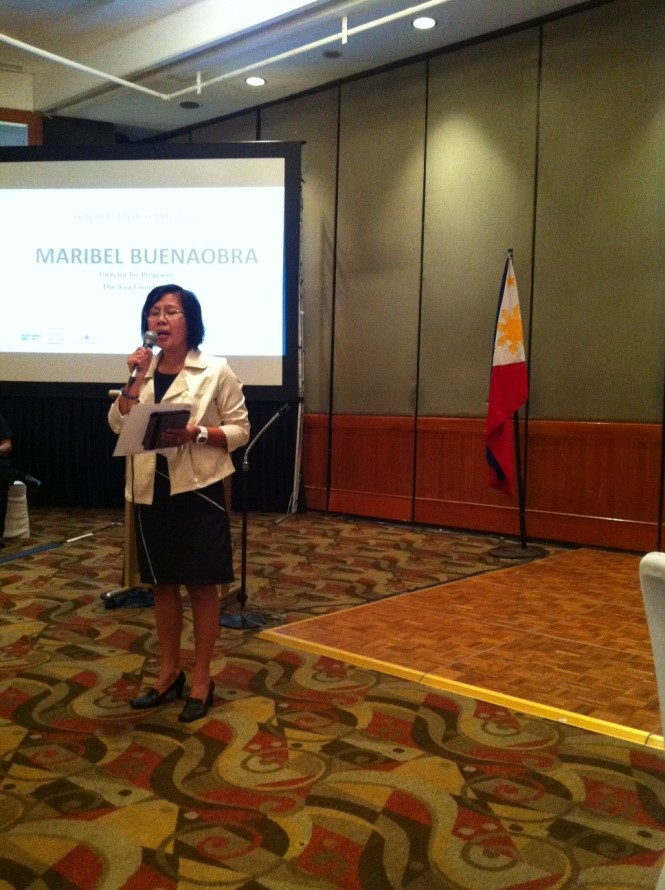 Director Maribel Buenaobra of The Asia Foundation presents the FAN Milestones.